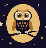 Night Owl. High details illustration of cartoon owl into the night vector illustration