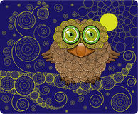 Night Owl on a Branch. Vector Illustration Royalty Free Stock Photos