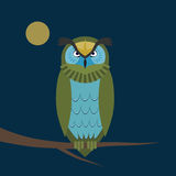 Night owl. On the branch.Geometric shapes Stock Image