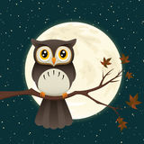 Night Owl. Illustration of a great horned owl on a branch silhouetting the full moon Stock Photo