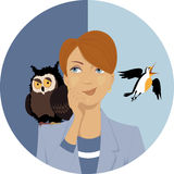 Night owl or morning lark? Stock Photography