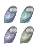 Night Owls. A set of owls with night skies on their wings in various colors Stock Images