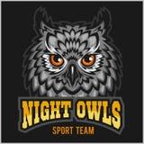 Night Owls - sport team. Head mascot. On black Royalty Free Stock Image