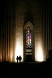 Night pair silhouette. Night town silhouettes near the church Royalty Free Stock Images