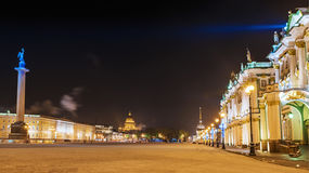 Night Palace Square in St. Petersburg winter view Stock Photos