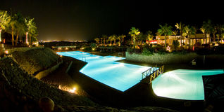 Night Panorama. A panoramic background of Club Reef Hotel in Sharm El Sheikh, Egypt Royalty Free Stock Photography