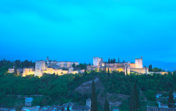 Night panorama, Alhambra palace - Spain Stock Images
