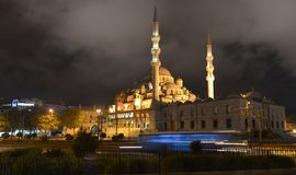 Night panorama of the ancient mosques in Istanbul. Night panorama of the old mosque. This is NEW mosque which is in the heart of Istanbul Royalty Free Stock Photos