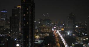 Night panorama of Bangkok city, Thailand stock video footage