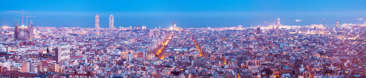Night panorama of Barcelona with Sagrada Familia Royalty Free Stock Images