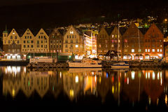 Night panorama of Bergen, Norway Stock Photo