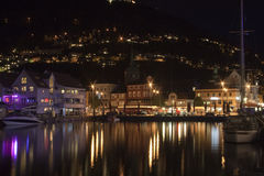 Night panorama of Bergen, Norway, Sacndinavia Stock Photography