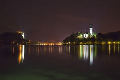 Night panorama of Bled Lake in Slovenia Stock Photography