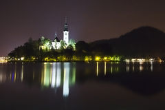 Night panorama of Bled Lake in Slovenia Royalty Free Stock Photography