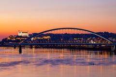Night panorama of Bratislava city Royalty Free Stock Images