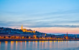 Night panorama of Buda Royalty Free Stock Images