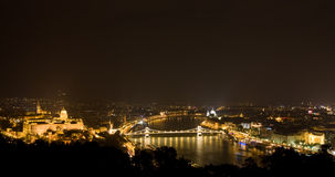 Night panorama of budapest Royalty Free Stock Photography