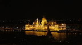 Night panorama of Budapest. Night scene of Parliament building in Budapest from Fisherman`s bastion Royalty Free Stock Photography