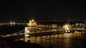 Night panorama of Budapest. View from Buda Castle to Parliament building, Chain Bridge and Danube Stock Photo