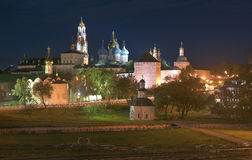Night panorama of the Cathedral of the Holy Trinity St. Sergius Lavra. Stock Image