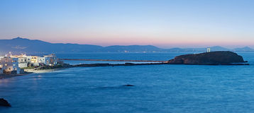 The night panorama of the causeway from Naxos to Palatia with Portara in Greece Stock Images
