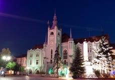 Night panorama of the center of Mukachevo city Stock Image