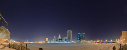 Night winter panorama of the central pond Yekaterinburg Stock Photos
