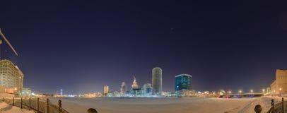 Night winter panorama of the central pond Yekaterinburg Stock Photos