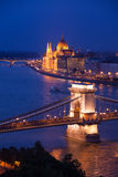 Night panorama of Chain Bridge and parliament Royalty Free Stock Photo