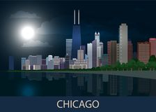 Night panorama Chicago city downtown with skyscrapers, lake Michigan, green trees and full moon in dark blue sky. Cityscape, view,. Town. Vector illustration vector illustration
