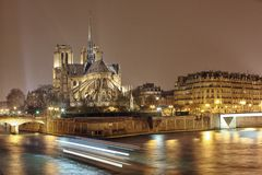 Night panorama of Cite island with cathedral Notre Dame de Paris Stock Photography