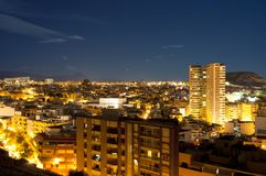 Night panorama city Alicante Stock Image