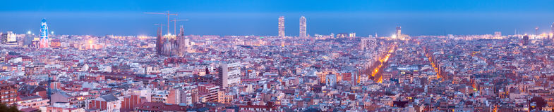 Night panorama of city. Barcelona Royalty Free Stock Image