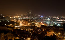 Night panorama of the city of Barcelona Spain Stock Photos