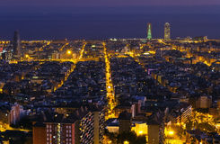 Night panorama of the city of Barcelona Spain Stock Photo