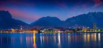 Night panorama of the city Lecoo. Royalty Free Stock Photography