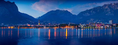 Night panorama of the city Lecoo. Royalty Free Stock Images