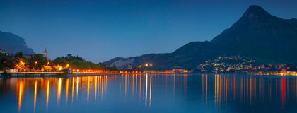 Night panorama of the city Lecoo. Royalty Free Stock Photo