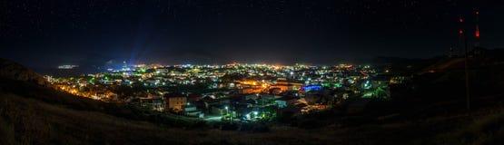 Night panorama of city Sudak, Crimea. Starry night panoramic shot of Sudak, Crimea. Summer 2014 Stock Images