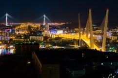 Night panorama of the  city of Vladivostok Stock Photo