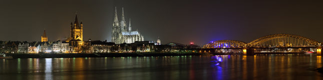 Night panorama of Cologne from the Rhine river Stock Photography