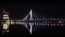 Night panorama of Daugava River, Riga Stock Image