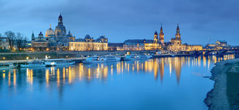 Night panorama of Dresden Old town with reflections in Elbe rive Stock Photos