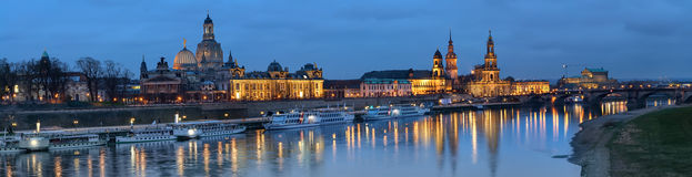 Night panorama of Dresden Old town with reflections Stock Photography