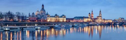 Night panorama of Dresden Old town Stock Photos