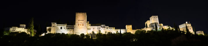 Night Panorama of the famous Alhambra palace, Granada, Spain. Royalty Free Stock Photo