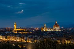 Night panorama of Florence. View ot top. Royalty Free Stock Photo