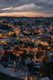 Evening view of ancient city Goreme stock images