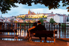 Night panorama of Hardcany in Prague, Czech Republic. Stock Photos