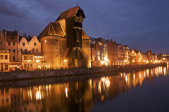Night panorama of the historical medieval port in Gdansk Royalty Free Stock Photo